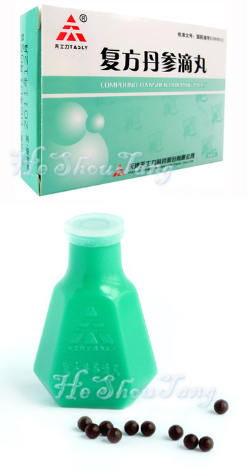 Compound Danshen Dripping Pills -For Angina Pectoris , Radix Salviae Miltiorrhizae, Pseudo-ginseng, Borneol. (Dan Shen, San Qi, Bing Pian)., Promoting blood circulation and removing blood stasis, regulating the flow of qi to alleviate pain(Huo Xue Hua Yu, Li Qi Zhi Tong). It is used for chest apoplexy, sense of suppression in the chest(chest stufly), chest pricking caused by qi stagnation and blood stasis, palpitation, shortness of breath, such as coronary heart disease and Angina Pectoris.